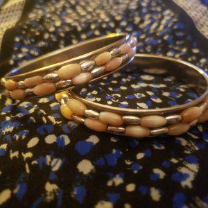 Two Small Faux Pearl/Metallic Bead Bracelets